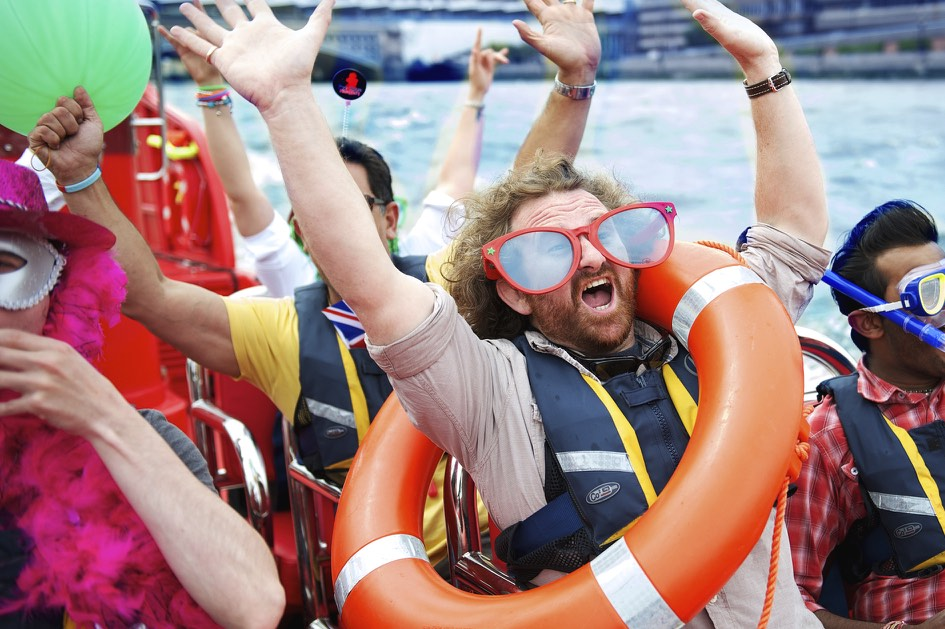 Stag, hen and group bubble football and Thames Rib Voyages package